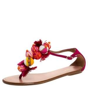 Aquazzura Fuchsia Suede Disco Pom Pom T Strap Flats Size 36