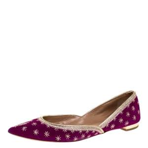Aquazzura Purple Embroidered Suede Bliss Ballet Flats Size 36.5