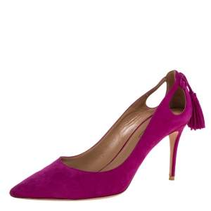 Aquazzura Pink Suede Leather Tassel Pointed Toe Pumps Size 38