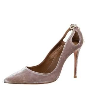 Aquazzura Grey Velvet Forever Marilyn 85 Cut Out Tassel Detail Pointed Toe Pumps Size 38