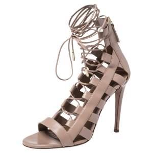 Aquazzura Beige Leather Gladiator Ankle Wrap Sandals Size 37