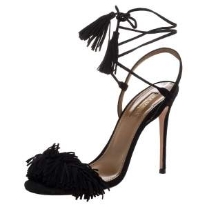 Aquazzura Black Suede Leather Wild Thing Fringe Details Ankle Wrap Sandals Size 37