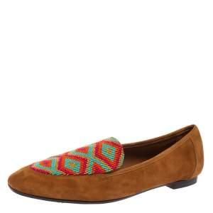 Aquazzura Brown Suede Masai Beaded Loafers Size 38.5
