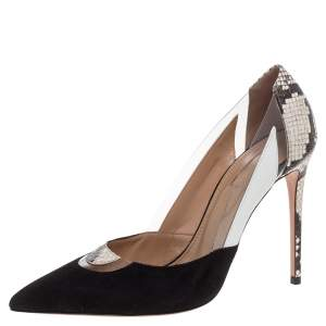 Aquazzura Black/White Suede, Leather, PVC and Snakeskin Fearless Pumps Size 39