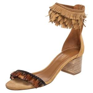 Aquazzura Beige Suede Fringe And Feather Open Toe Ankle strap Sandals Size 36