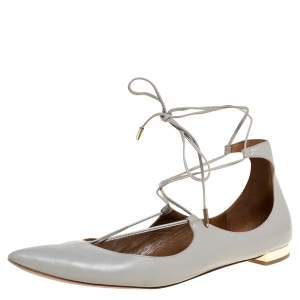 Aquazzura Grey Leather Christie Ankle Wrap Pointed Toe Flats Size 41