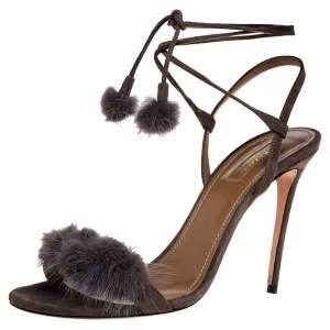 Aquazzura Olive Green Suede Fur Embellished Open Toe Sandals Size 39