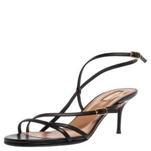 Aquazzura Black Leather Open Toe Ankle Strap Sandals Size 40