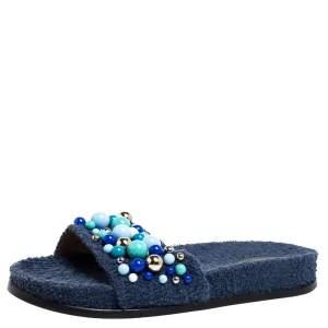 Aquazzura Blue Cotton Fabric Bon Bon Embellished Flat Slides Size 38