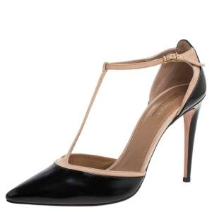 Aquazzura Black Leather T-Strap Pointed Toe Pumps Size 40.5