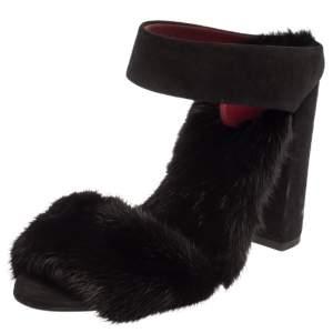 Aquazzura Black Suede And Mink Fur Purr Purr Ankle Strap Sandals Size 38.5