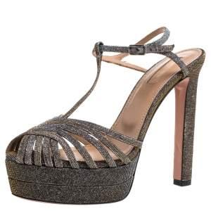 Aquazzura Mettalic Lurex Fabric Strappy Platform Ankle Strap Sandals Size 38.5