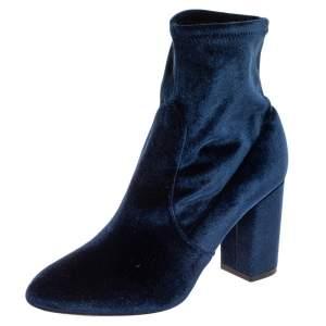 حذاء بوت كاحل أكوازورا سليب أون قطيفة أزرق مقاس 38