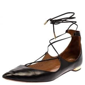 Aquazzura Black Leather Christy Flat Sandals Size 38