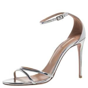 Aquazzura Silver Mirror Leather Purist Ankle Strap Sandals Size 40
