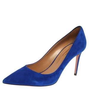 Aquazzura Blue Suede Simply Irresistible Pumps Size 40