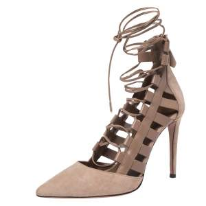 Aquazurra Brown Suede and Leather Amazon Cut Out Strappy Pointed Toe Pumps Size 38