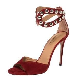 Aquazzura Red Suede Studded DJ Sandals Size 38