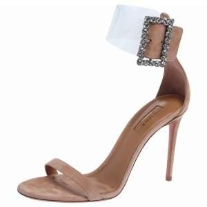 ..Aquazzura Beige Suede and PVC Casablanca Strass Sandals Size 39.5
