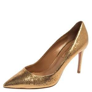 Aquazzura Gold Textured Leather Savory Pointed Toe Pumps Size 35