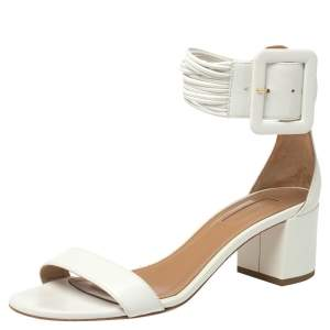 Aquazurra White Leather Casablanca Sandals Size 38.5