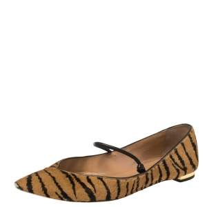 Aquazzura Tan Tiger Print Calfhair Mary Jane Pointed Toe Flats Size 37.5