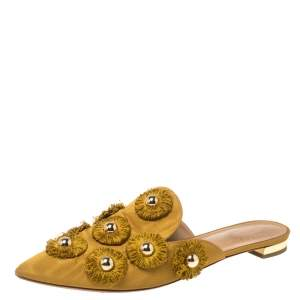 Aquazzura Mustard Fabric Sunflower Mules Size 37