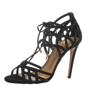 Aquazzura Black Suede Ginger Tie Wrap Sandals Size 37