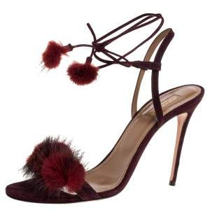 Aquazzura Burgundy Fur And Suede Wild Russian Open Toe Ankle Wrap Sandals Size 39.5