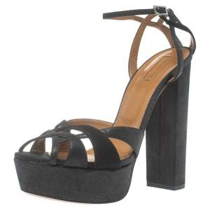 Aquazzura Metallic Black Suede Luna Ankle Strap Platform Sandals Size 41