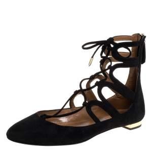 Aquazzura Black Suede Belgravia Ballet Flats Size 37.5