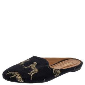 Aquazzura Navy Blue Canvas Tiger Embroidered Mules Flat Size 41
