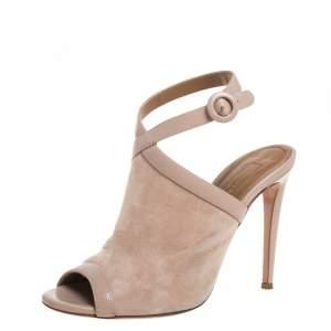 Aquazzura Beige Suede And Leather Trim Mule Sandals Size 37.5