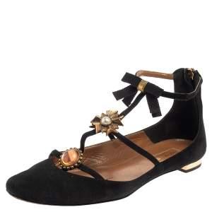 Aquazurra Black Suede Pandora Embellished Flat Sandals Size 36.5