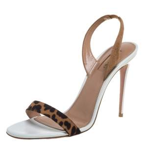 Aquazzura Brown/Beige Leopard Print Suede So Nude 85 Slingback Sandals Size 40