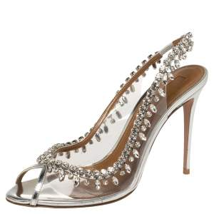Aquazzura Silver PVC And Leather Temptation Crystal Sandals Size 40