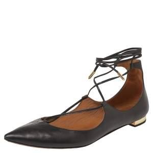 Aquazzura Black Leather Christy Pointed Toe Ankle Wrap Flats Size 39