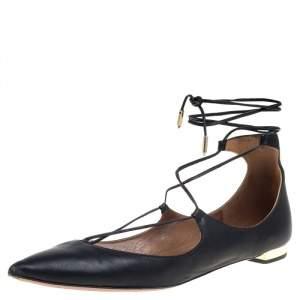 Aquazzura Black Leather Christy Flat Sandals Size 38.5