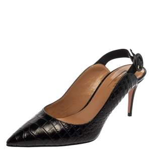 Aquazzura Black Croc Embossed Leather Yale Slingback Sandals Size 37