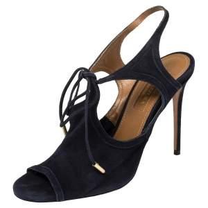 Aquazzura Blue Suede Tie-up Sandals Size 36