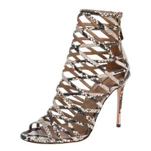 Aquazzura Beige/Brown Python Embossed Leather Knockout Sandals Size 37.5