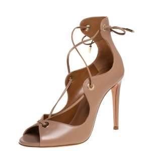 Aquazzura Beige Leather Tango Curvy Lace Up Sandals Size 35.5