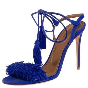 Aquazzura Blue Suede Wild Thing Ankle Wrap Sandals Size 36