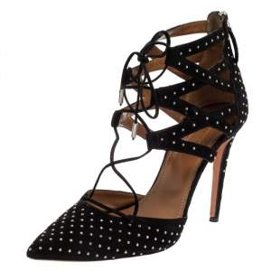 Aquazzura Black Suede Belgravia Sandals Size 40