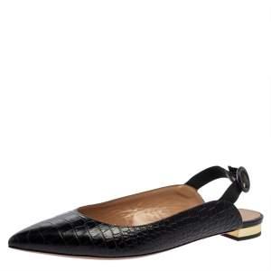 Aquazurra Black Croc Embossed Leather Slingback Sandals Size 40