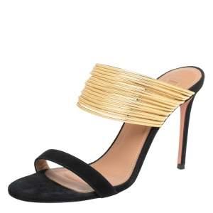 Aquazzura Black/Gold Suede And Leather Rendez Vous 105 Slide Sandals Size 38