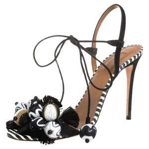 Aquazzura Black/White Suede Pom Pom Embellished Fringe Tassel Sandals Size 38
