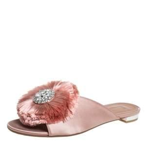 Aquazzura Pink Satin And Fur Crystal Lotus Slide Sandals Size 38