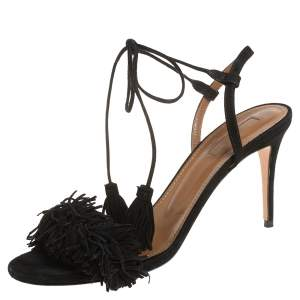 Aquazzura Black Fringed Suede Wild Thing Ankle Wrap Sandals Size 37