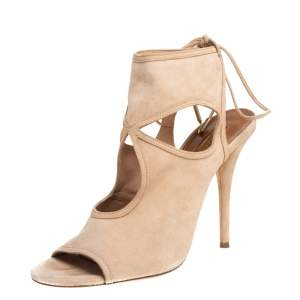 Aquazzura Beige Suede Sexy Thing Cutout Ankle Wrap Sandals Size 40